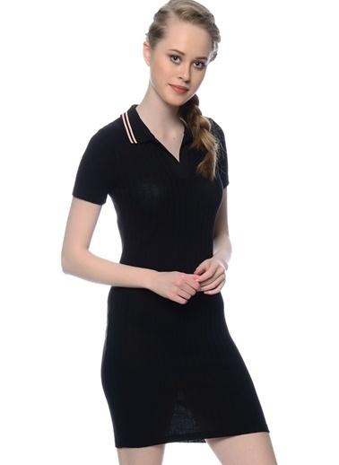 Black Pepper Kısa Kollu Dar Mini Elbise Siyah